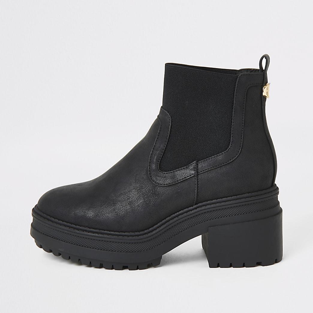Zwarte stevige elastische Chelsea laarzen