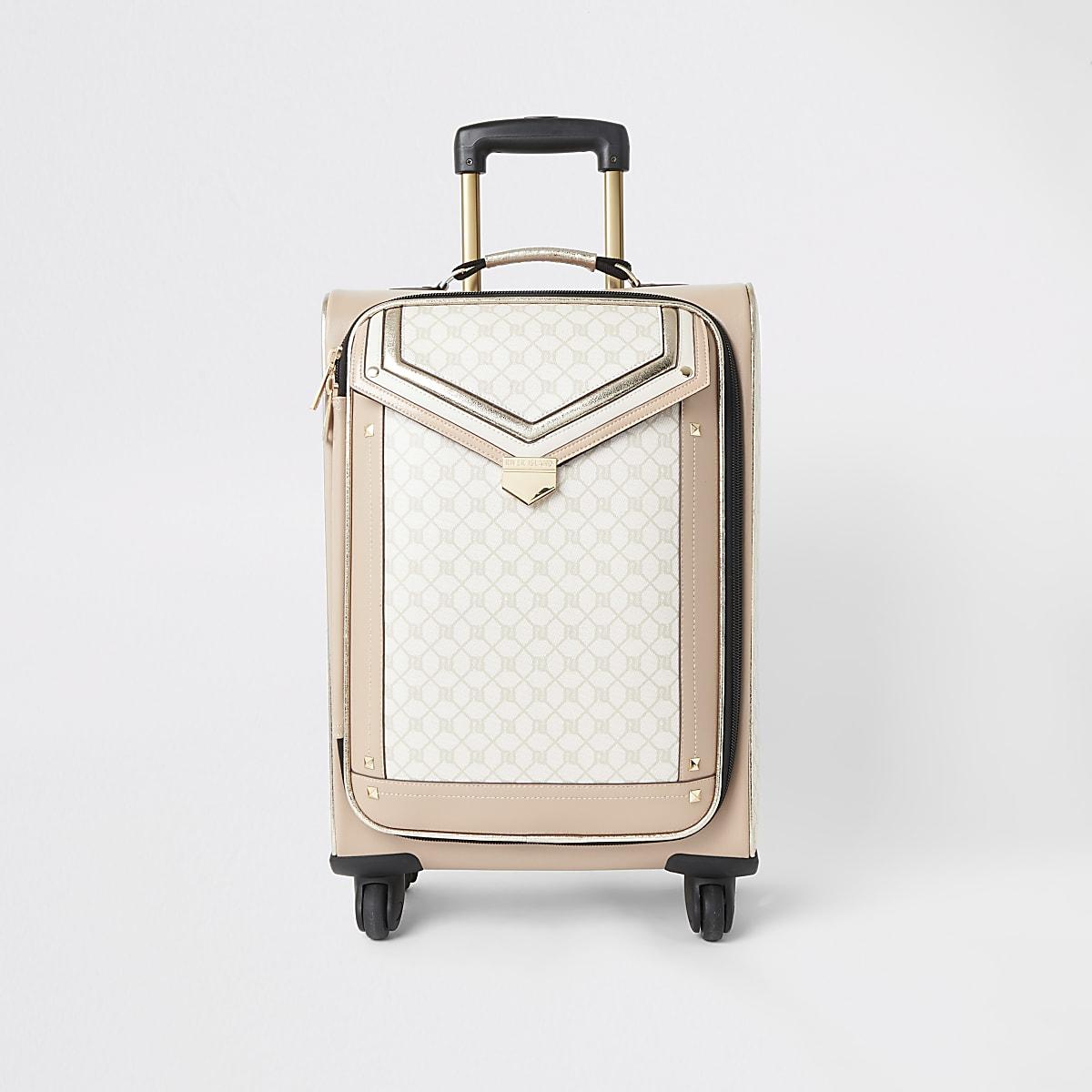 Valise beige à rabat avec monogramme RI