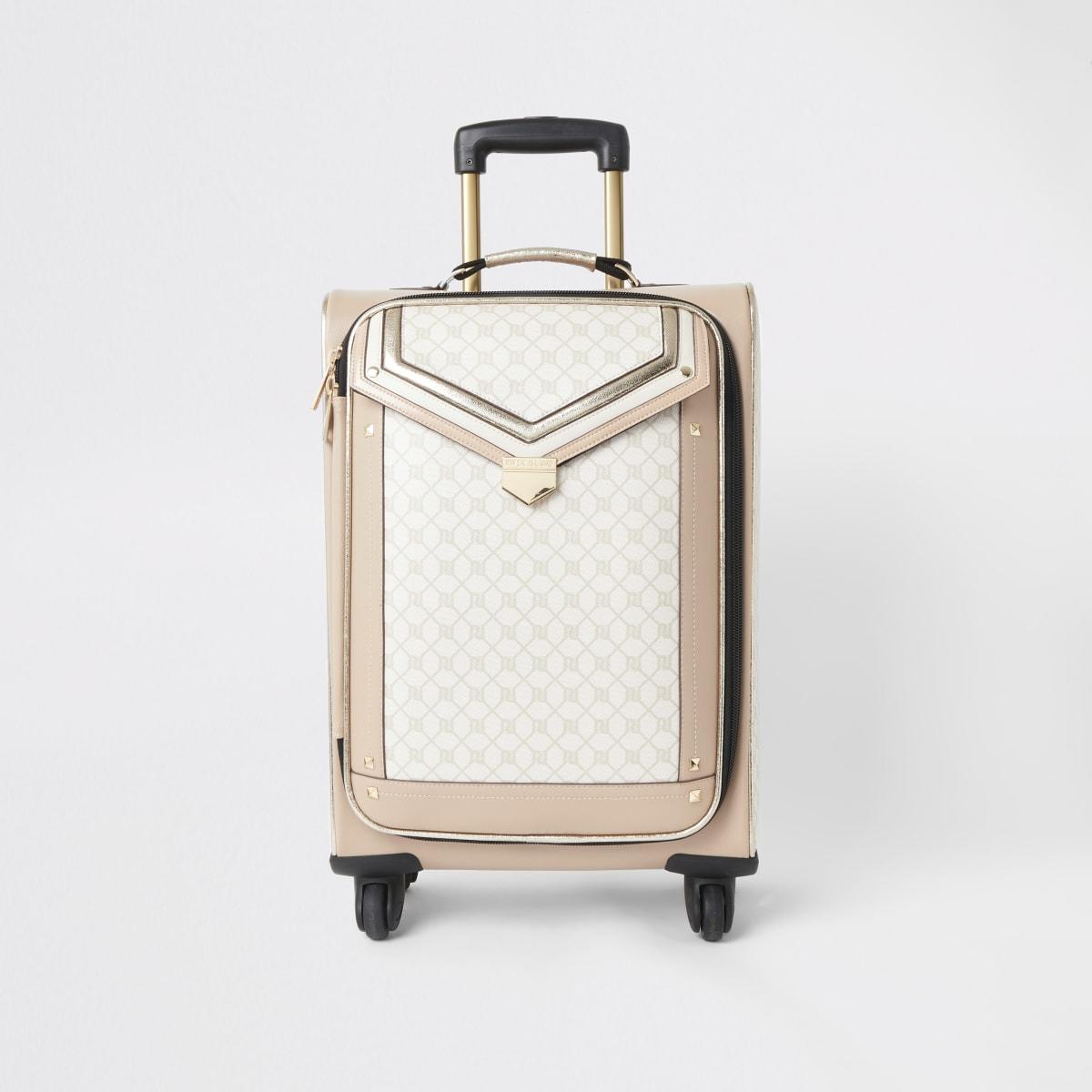 Beige koffer met RI-monogram en voorflap