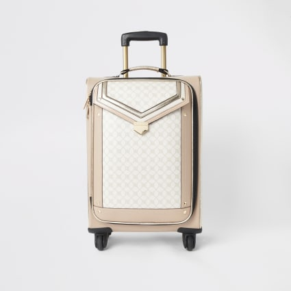 Beige RI monogram flap front suitcase