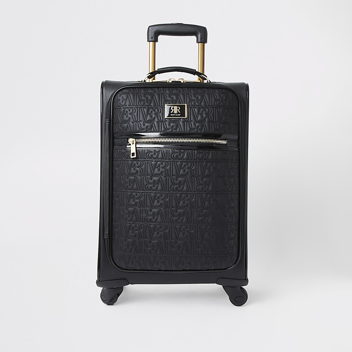 Black RI monogram zip front suitcase
