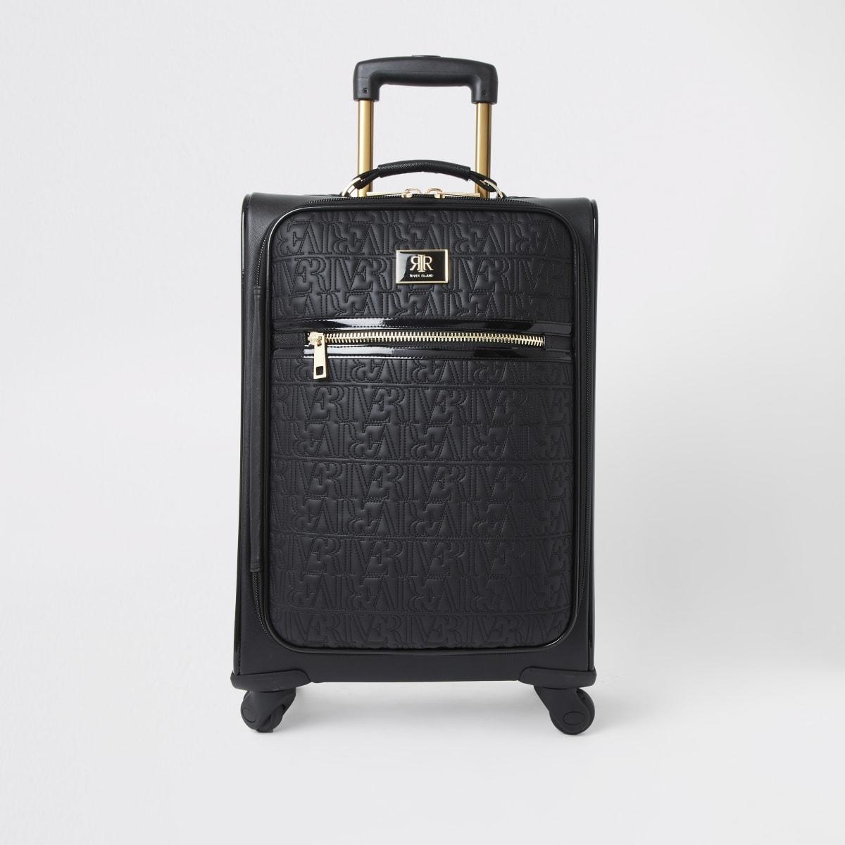 Black RI monogram zip front suitcase