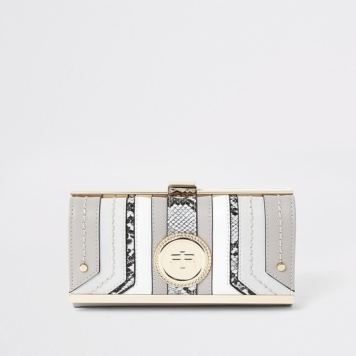 Light grey RI pendant clip top purse