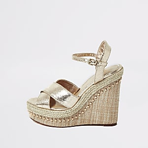 Gold metallic espadrille wedges