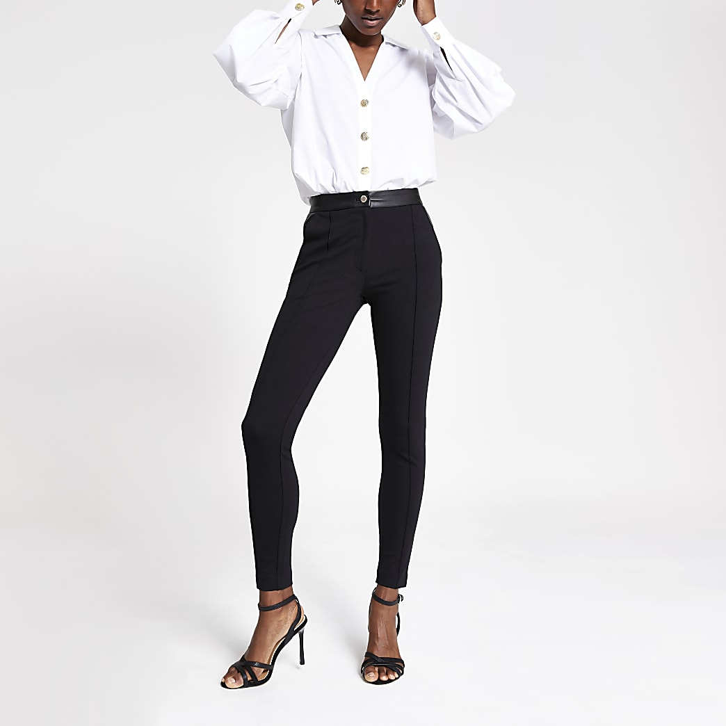 Black ponte skinny trousers