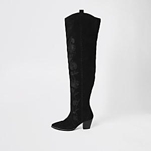 Bottes aux genoux noires en daim brodé