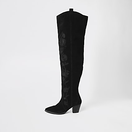 Black suede embroidered over the knee boot