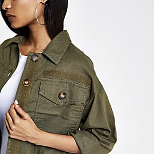 Petite – Shacket in Khaki