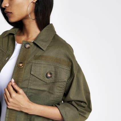 Petite khaki button front shacket