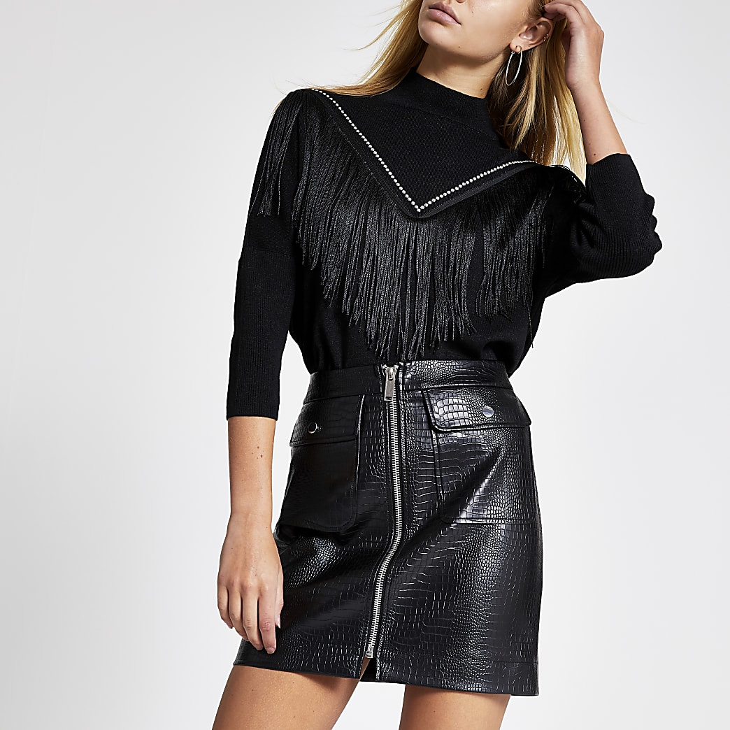 Black croc embossed zip through mini skirt