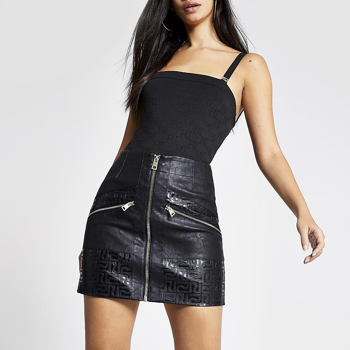 Black faux leather RI mono mini biker skirt