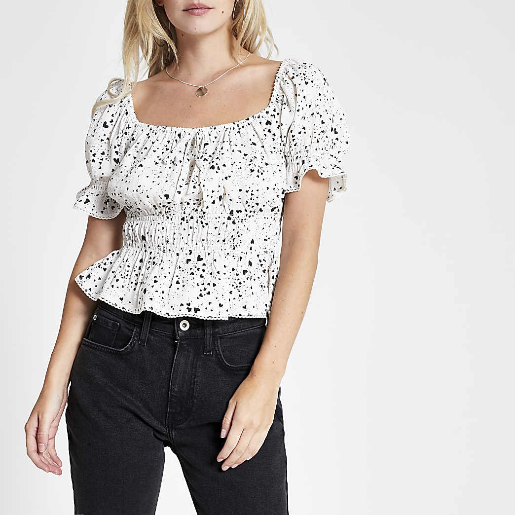 Petite white heart print bow front tea top