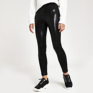 Zwarte skinny legging met slangenprint