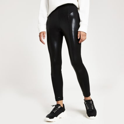 Black snake print coated skinny leggings