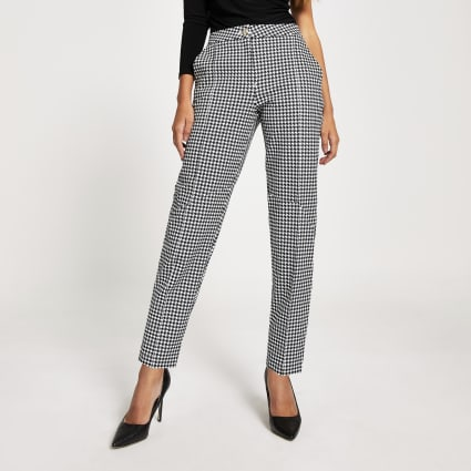 Black dogtooth ponte cigarette trousers