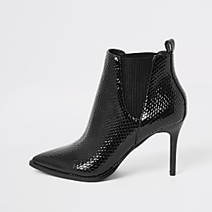 Black patent embossed pointed toe boots