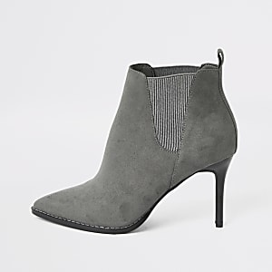 Grey pointed heeled ankle boots