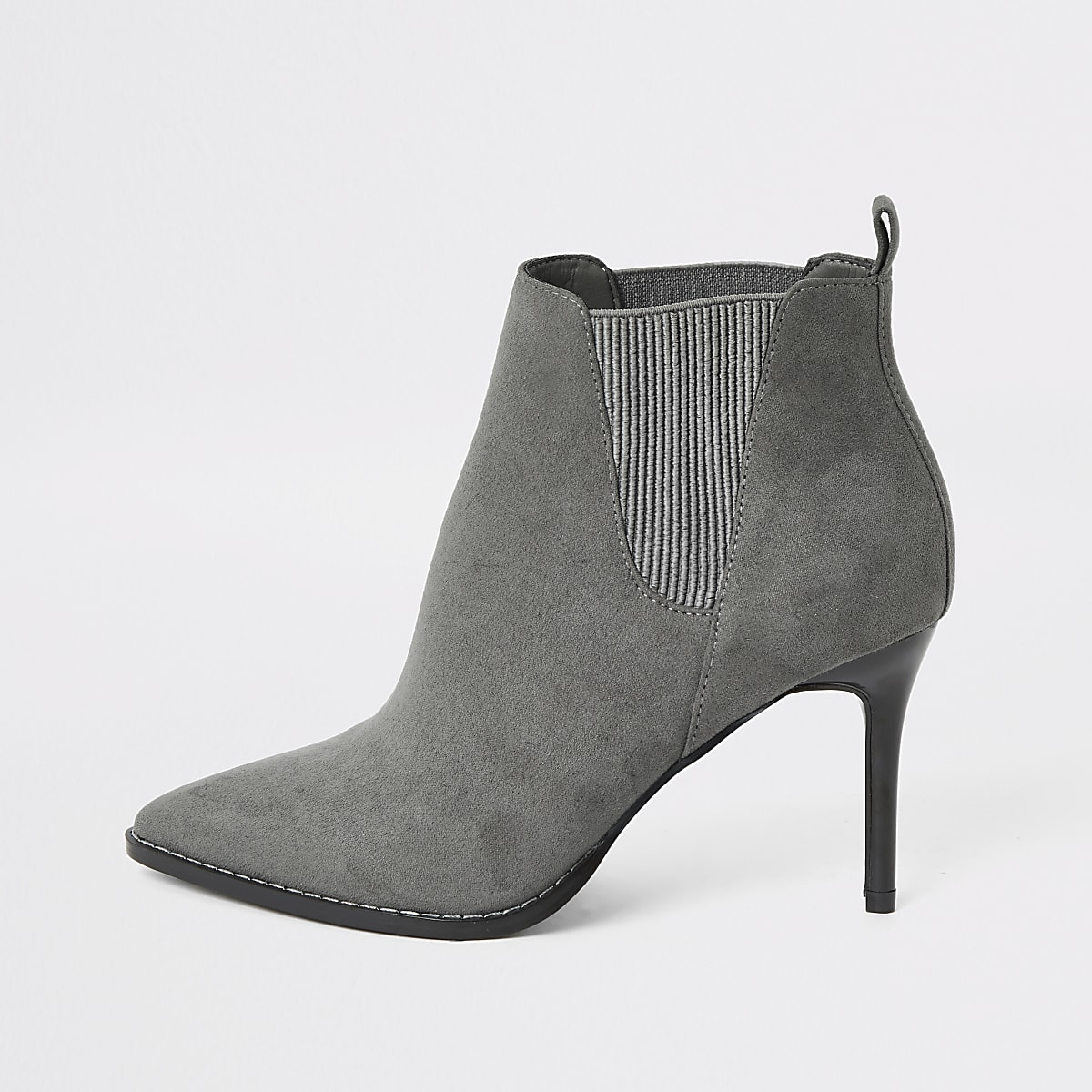 Grey pointed heeled wide fit ankle boots
