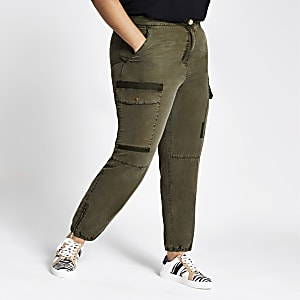Plus khaki cargo trousers