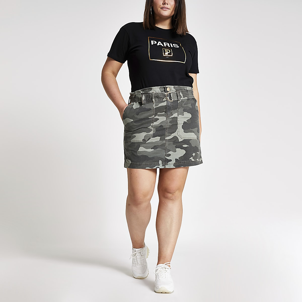 Plus – Jupe utilitaire camouflage kaki à taille haute ceinturée