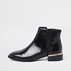 Black wide fit pearl embellished ankle boot