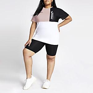 Plus – T-shirt « Prolific » oversize colour block blanc