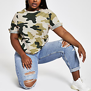 Plus – T-shirt camouflage rose