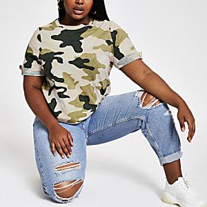 RI Plus - Roze T-shirt met camouflageprint