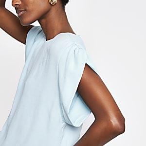 Blauw T-shirt met korte mouwen