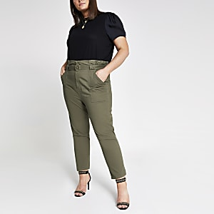 Plus khaki paperbag cargo trousers