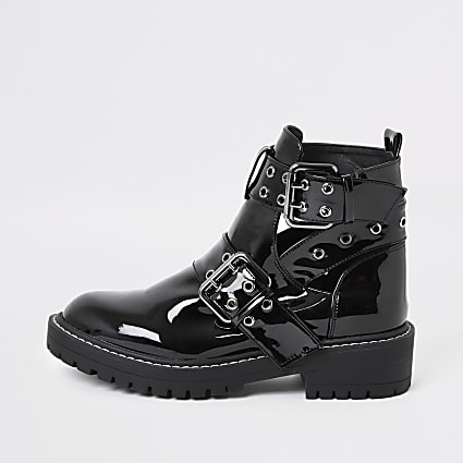 Black patent cut away wide fit chunky boots