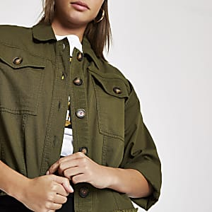 Kurzes Shacket in Khaki