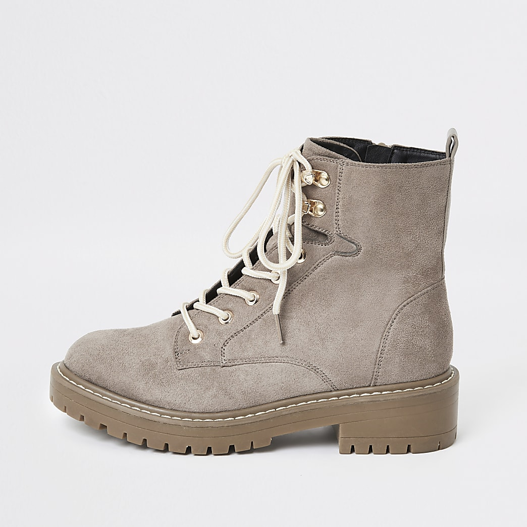 Grey wide fit chunky lace-up boots