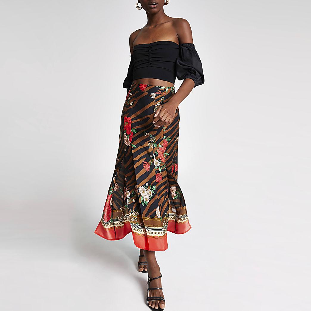 Brown zebra print midi skirt