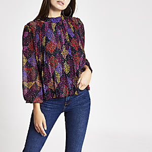 Pink leopard print pleated blouse