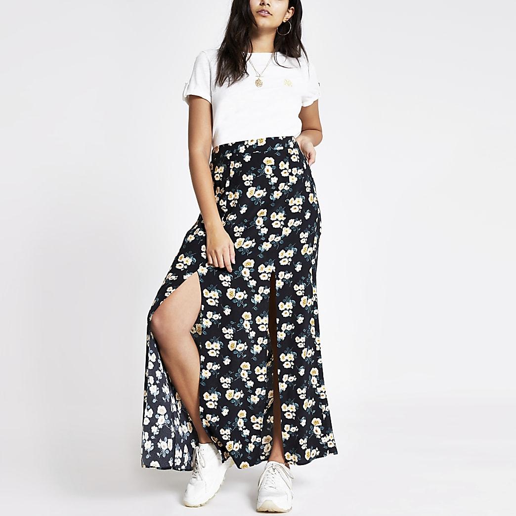 Jupe longue à fleurs noire