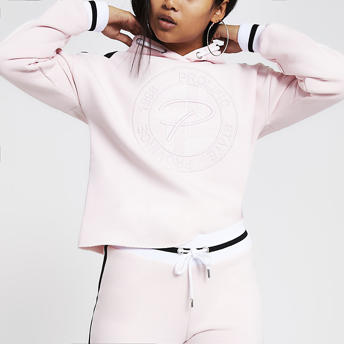 Petite pink 'Prolific' embroidered hoodie