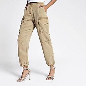 Petite beige Hailey utility pants