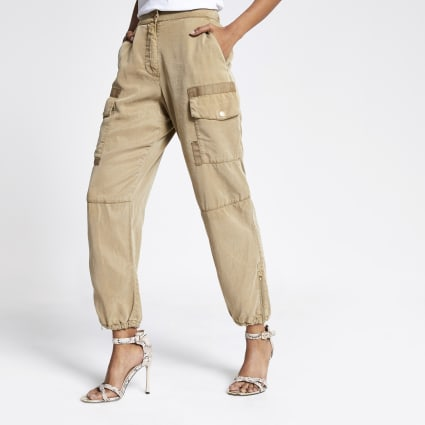 Petite beige Hailey utility trousers