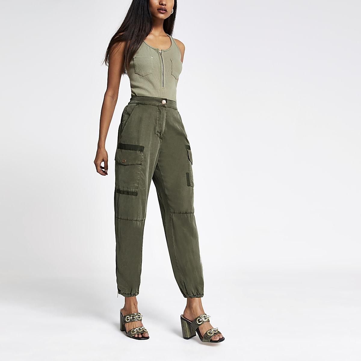 Petite khaki Hailey utility trousers