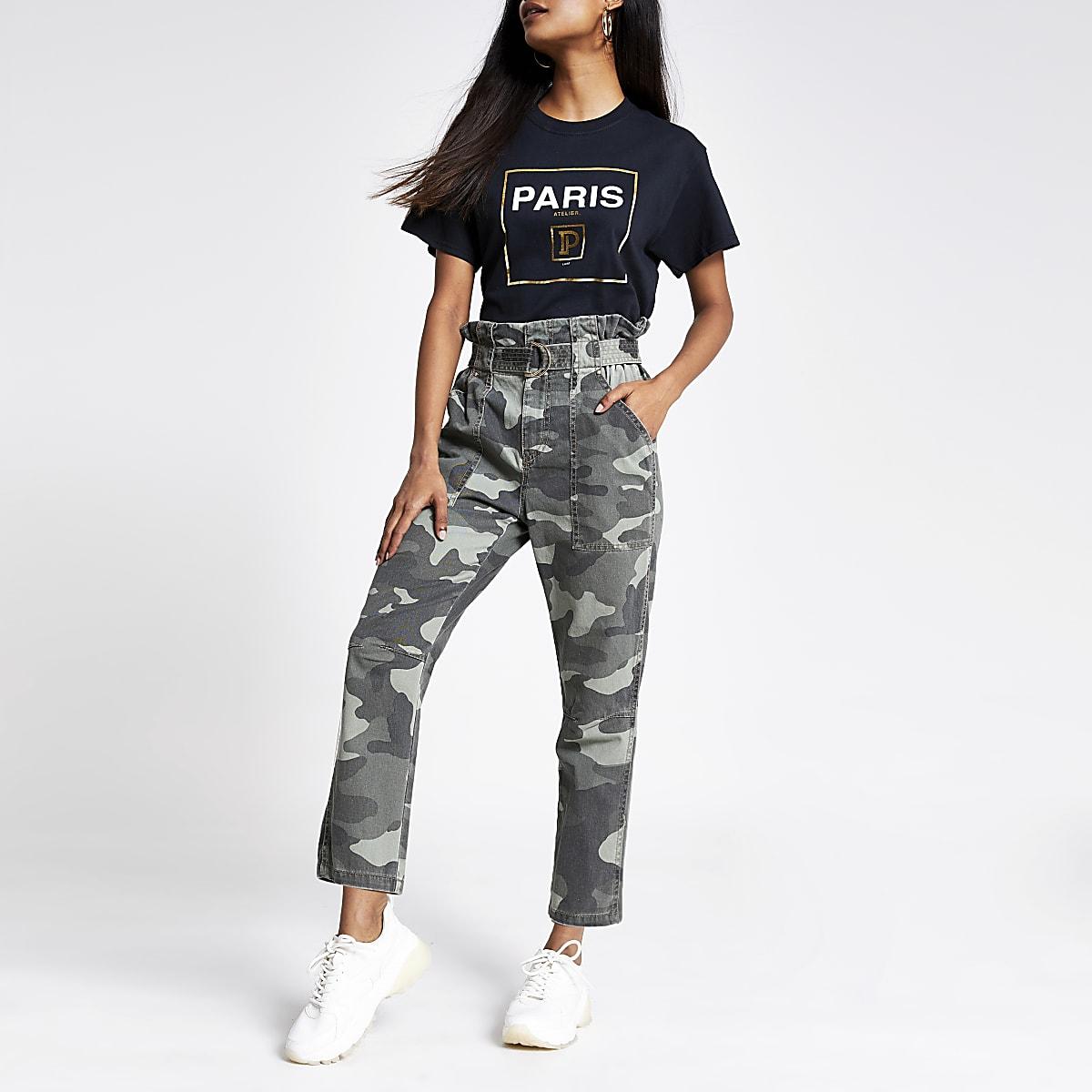 Petite khaki camo paperbag waist trousers