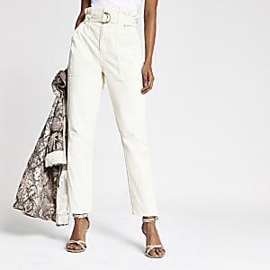 RI Petite - Beige jeans met geplooide taille