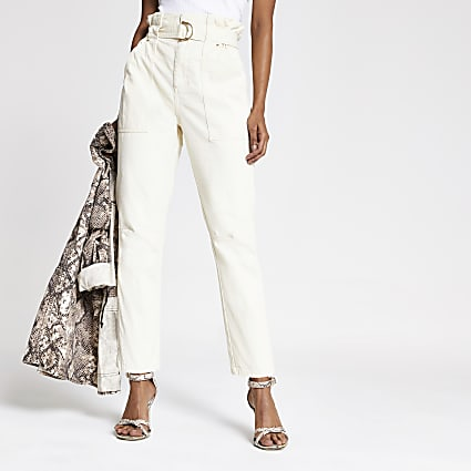 Petite beige paperbag jeans