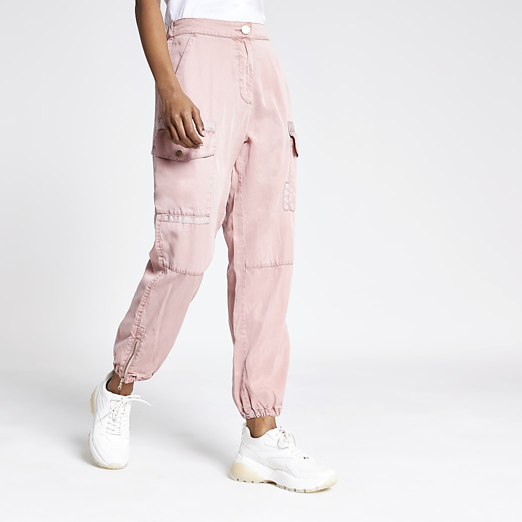 Petite pink Hailey utility trousers