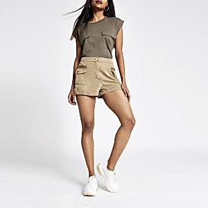 Petite beige utility shorts