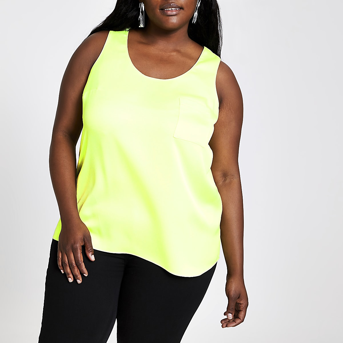 Plus neon green tank top