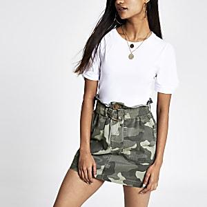 Petite khaki camo paperbag waist denim skirt