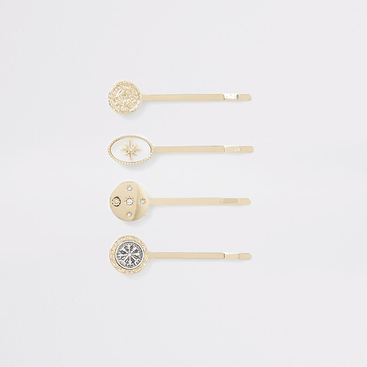 Gold colour hair slides multipack