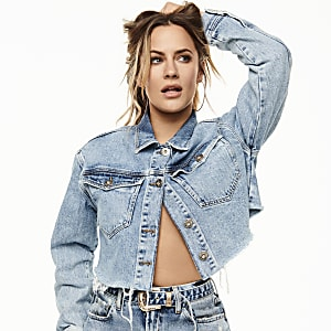 Caroline Flack mid blue cropped denim jacket