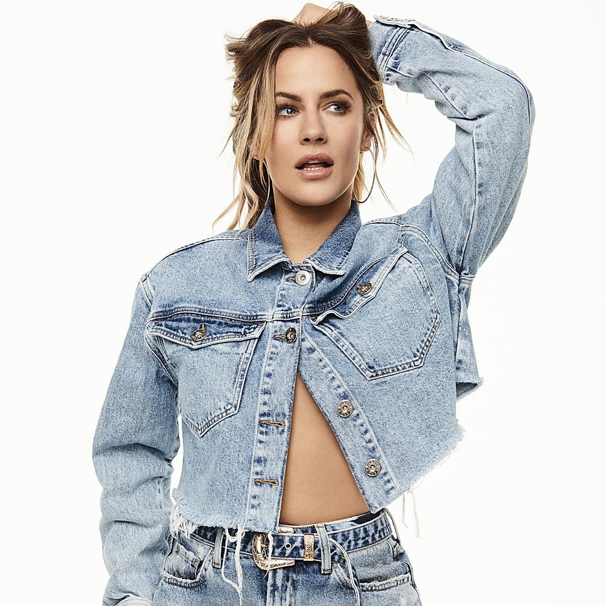 Caroline Flack mid blue cropped denim jacket